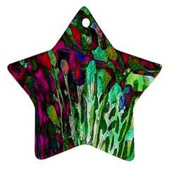 Bright Tropical Background Abstract Background That Has The Shape And Colors Of The Tropics Star Ornament (Two Sides)
