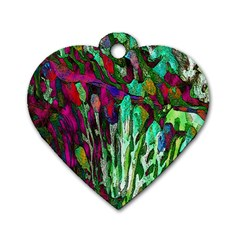 Bright Tropical Background Abstract Background That Has The Shape And Colors Of The Tropics Dog Tag Heart (Two Sides)