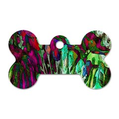 Bright Tropical Background Abstract Background That Has The Shape And Colors Of The Tropics Dog Tag Bone (two Sides)