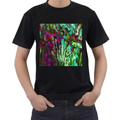 Bright Tropical Background Abstract Background That Has The Shape And Colors Of The Tropics Men s T Shirt (black)
