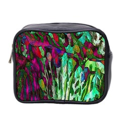 Bright Tropical Background Abstract Background That Has The Shape And Colors Of The Tropics Mini Toiletries Bag 2 Side