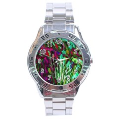 Bright Tropical Background Abstract Background That Has The Shape And Colors Of The Tropics Stainless Steel Analogue Watch