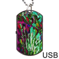 Bright Tropical Background Abstract Background That Has The Shape And Colors Of The Tropics Dog Tag Usb Flash (two Sides)