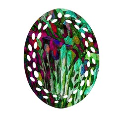 Bright Tropical Background Abstract Background That Has The Shape And Colors Of The Tropics Ornament (Oval Filigree)