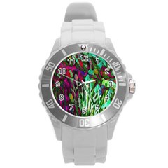 Bright Tropical Background Abstract Background That Has The Shape And Colors Of The Tropics Round Plastic Sport Watch (l)