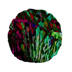 Bright Tropical Background Abstract Background That Has The Shape And Colors Of The Tropics Standard 15  Premium Round Cushions