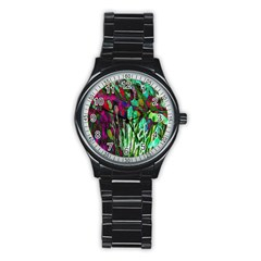 Bright Tropical Background Abstract Background That Has The Shape And Colors Of The Tropics Stainless Steel Round Watch