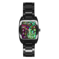 Bright Tropical Background Abstract Background That Has The Shape And Colors Of The Tropics Stainless Steel Barrel Watch