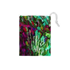 Bright Tropical Background Abstract Background That Has The Shape And Colors Of The Tropics Drawstring Pouches (small)