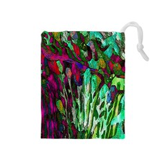 Bright Tropical Background Abstract Background That Has The Shape And Colors Of The Tropics Drawstring Pouches (Medium)
