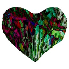 Bright Tropical Background Abstract Background That Has The Shape And Colors Of The Tropics Large 19  Premium Flano Heart Shape Cushions