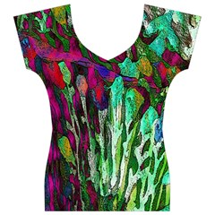Bright Tropical Background Abstract Background That Has The Shape And Colors Of The Tropics Women s V-Neck Cap Sleeve Top