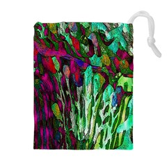 Bright Tropical Background Abstract Background That Has The Shape And Colors Of The Tropics Drawstring Pouches (extra Large)