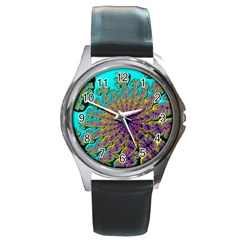 Beautiful Mandala Created With Fractal Forge Round Metal Watch