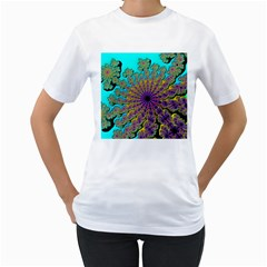 Beautiful Mandala Created With Fractal Forge Women s T Shirt (white) (two Sided)