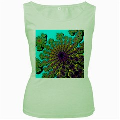 Beautiful Mandala Created With Fractal Forge Women s Green Tank Top