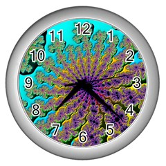 Beautiful Mandala Created With Fractal Forge Wall Clocks (silver)