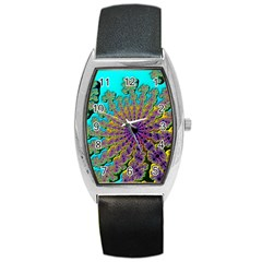 Beautiful Mandala Created With Fractal Forge Barrel Style Metal Watch