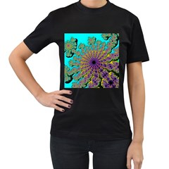 Beautiful Mandala Created With Fractal Forge Women s T-Shirt (Black) (Two Sided)