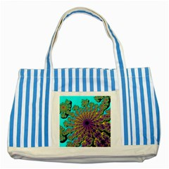 Beautiful Mandala Created With Fractal Forge Striped Blue Tote Bag