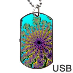 Beautiful Mandala Created With Fractal Forge Dog Tag Usb Flash (one Side)