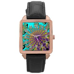 Beautiful Mandala Created With Fractal Forge Rose Gold Leather Watch