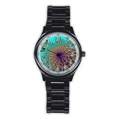 Beautiful Mandala Created With Fractal Forge Stainless Steel Round Watch
