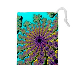 Beautiful Mandala Created With Fractal Forge Drawstring Pouches (large)