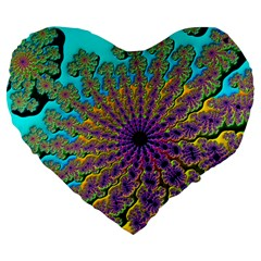 Beautiful Mandala Created With Fractal Forge Large 19  Premium Flano Heart Shape Cushions