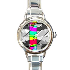 Colors Fadeout Paintwork Abstract Round Italian Charm Watch