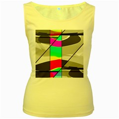Colors Fadeout Paintwork Abstract Women s Yellow Tank Top