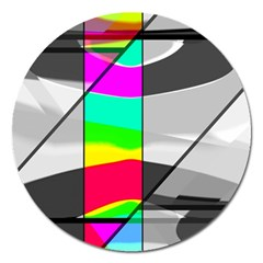 Colors Fadeout Paintwork Abstract Magnet 5  (Round)