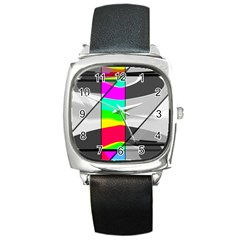 Colors Fadeout Paintwork Abstract Square Metal Watch
