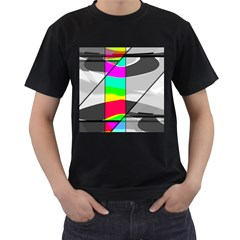 Colors Fadeout Paintwork Abstract Men s T-Shirt (Black) (Two Sided)