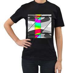Colors Fadeout Paintwork Abstract Women s T-Shirt (Black) (Two Sided)