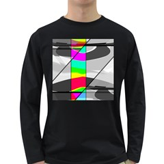 Colors Fadeout Paintwork Abstract Long Sleeve Dark T Shirts