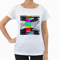 Colors Fadeout Paintwork Abstract Women s Loose-Fit T-Shirt (White)