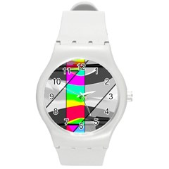 Colors Fadeout Paintwork Abstract Round Plastic Sport Watch (M)
