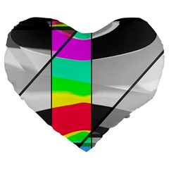 Colors Fadeout Paintwork Abstract Large 19  Premium Heart Shape Cushions