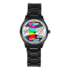 Colors Fadeout Paintwork Abstract Stainless Steel Round Watch