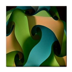 Ribbons Of Blue Aqua Green And Orange Woven Into A Curved Shape Form This Background Tile Coasters