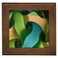 Ribbons Of Blue Aqua Green And Orange Woven Into A Curved Shape Form This Background Framed Tiles