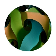 Ribbons Of Blue Aqua Green And Orange Woven Into A Curved Shape Form This Background Ornament (Round)