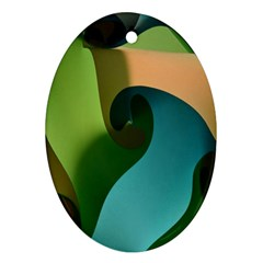 Ribbons Of Blue Aqua Green And Orange Woven Into A Curved Shape Form This Background Ornament (Oval)