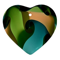 Ribbons Of Blue Aqua Green And Orange Woven Into A Curved Shape Form This Background Ornament (heart)