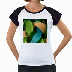 Ribbons Of Blue Aqua Green And Orange Woven Into A Curved Shape Form This Background Women s Cap Sleeve T