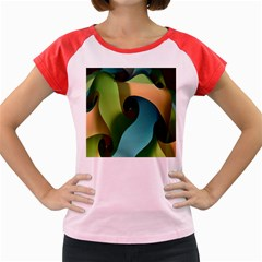 Ribbons Of Blue Aqua Green And Orange Woven Into A Curved Shape Form This Background Women s Cap Sleeve T Shirt