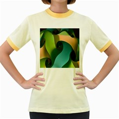 Ribbons Of Blue Aqua Green And Orange Woven Into A Curved Shape Form This Background Women s Fitted Ringer T-Shirts