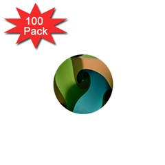 Ribbons Of Blue Aqua Green And Orange Woven Into A Curved Shape Form This Background 1  Mini Buttons (100 pack)