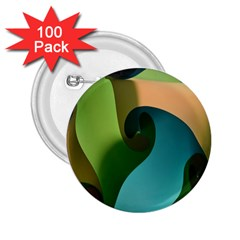 Ribbons Of Blue Aqua Green And Orange Woven Into A Curved Shape Form This Background 2 25  Buttons (100 Pack)